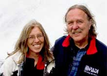 David Brough and Clarice Brough at a dog sled camp in Alaska